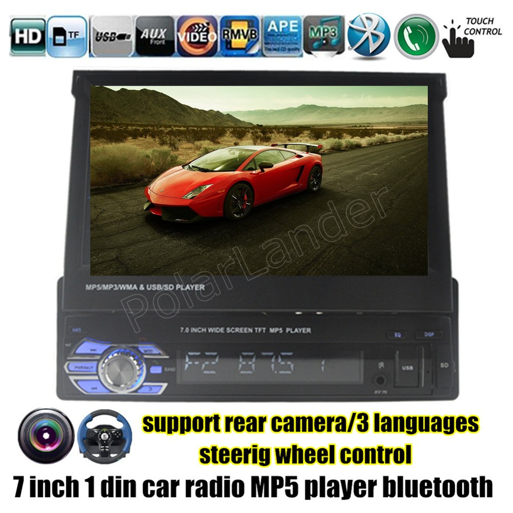 1 din 7 inch Car Stereo Radio MP5 MP4 Player FM USB TF rear camera Input bluetooth touch screen steering wheel control video