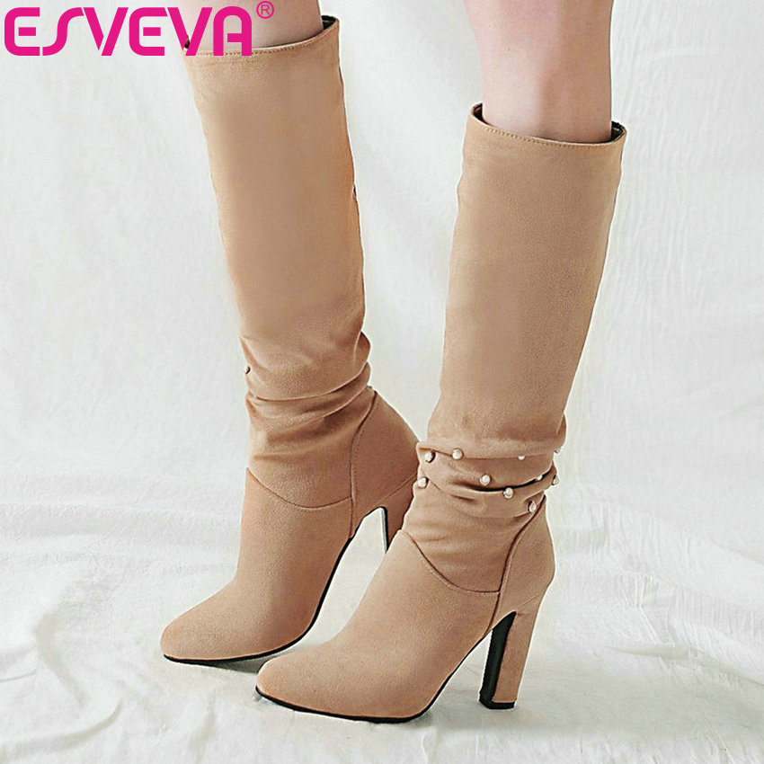 ESVEVA 2019 Women Shoes High Heels Pointed Toe Winter Boots Beading Elegant Knee High Boots Square Heels Autumn Shoes Size 34-43 esveva 2018 women boots elegant square high heels pointed toe ankle boots appointment lining warm fur pu ladies shoes size 34 39
