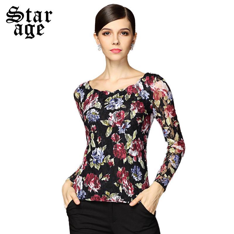 9a05f7dc17f0a S xxxl elegantes blusas de estampado Floral camisas Hollow encaje de manga  larga Casual Tops para mujer camisas otoño tamaño grande ropa mujer 8210 en  ...
