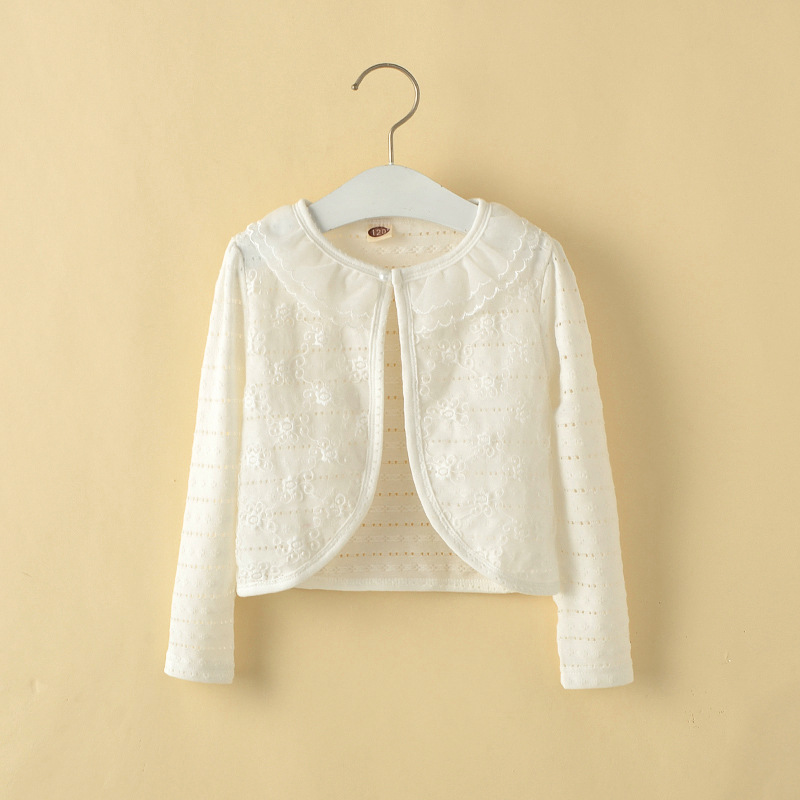 Retail 1 10Y Girls White Cardigan Cotton Polyester Thin Long ...