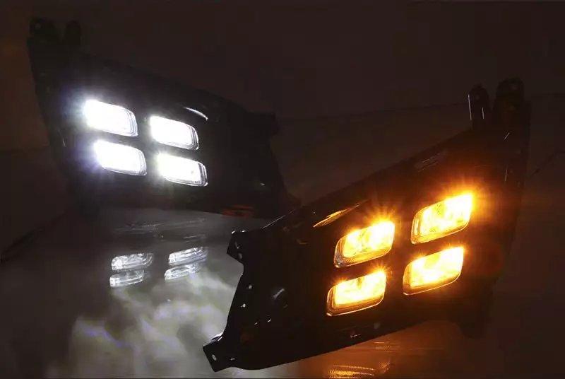 led drl daytime running light fog lamp for Kia K5 optima 2014 with yellow turn signals led drl daytime running light for hyundai elantra 2014 15 j5 avante md fog lamp projector lens yellow turn signals