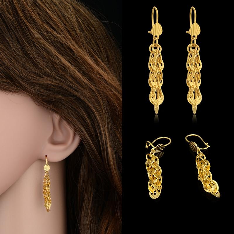Brand Luxury Indian Jewelry Gold Plated Heart Long Drop Earrings