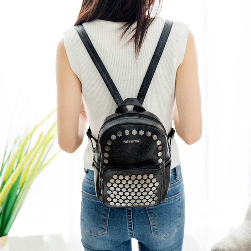 Nevenka Fashion Women Bag School Lady Backpack PU Leather Bags Student Shoulder Bag Casual Female Backpacks Softback Bags Sac02