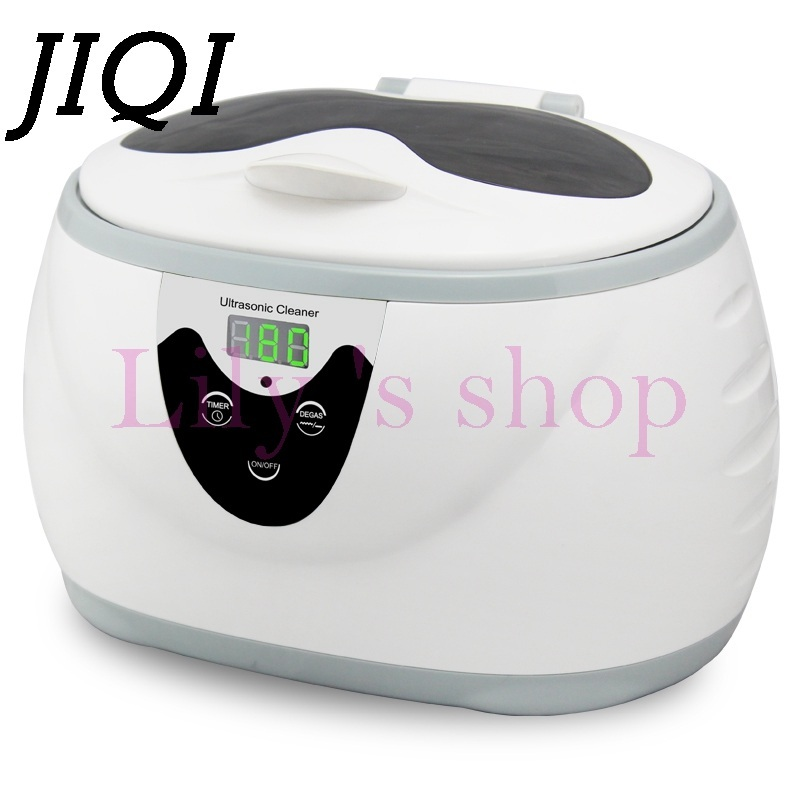 JIQI Digital Ultrasonic Cleaner Jewelry Watch Glasses Wash Bath dental Toothbrushes Ultrasonic Cleaning Machine 0.6L 110V 220V