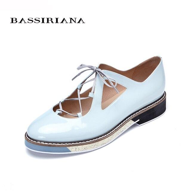 Обувь женская натуральная кожа Голубой черный лак Женские лоферы со шнурками Размеры 35-40 Красивая женская обувь на плоской подошве Бесплатная доставка BASSIRIANA