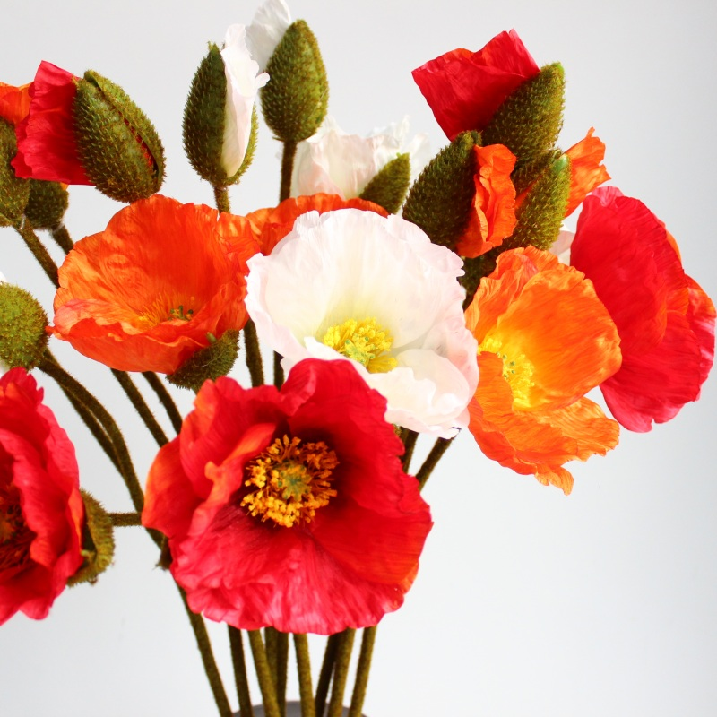1 PC 2 head Big Poppy Stem Silk Flowers Beautiful Artificial Flowers Home Wedding Decoration Gift