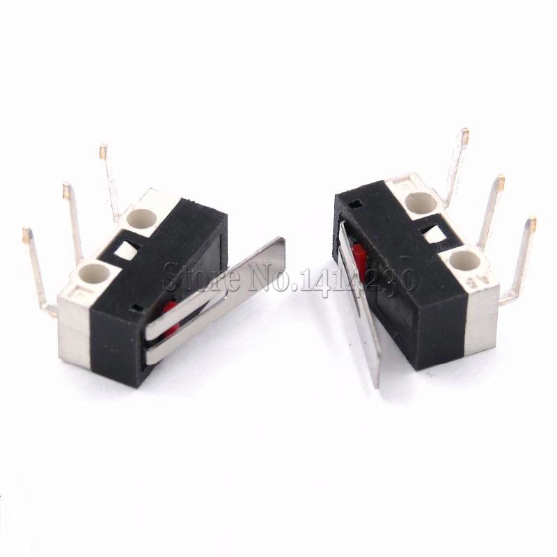 цена на 10Pcs Limit Switch Push Button Switch 1A 125V AC Mouse Switch 3Pins 90 Degree Curved Needle Micro Switch