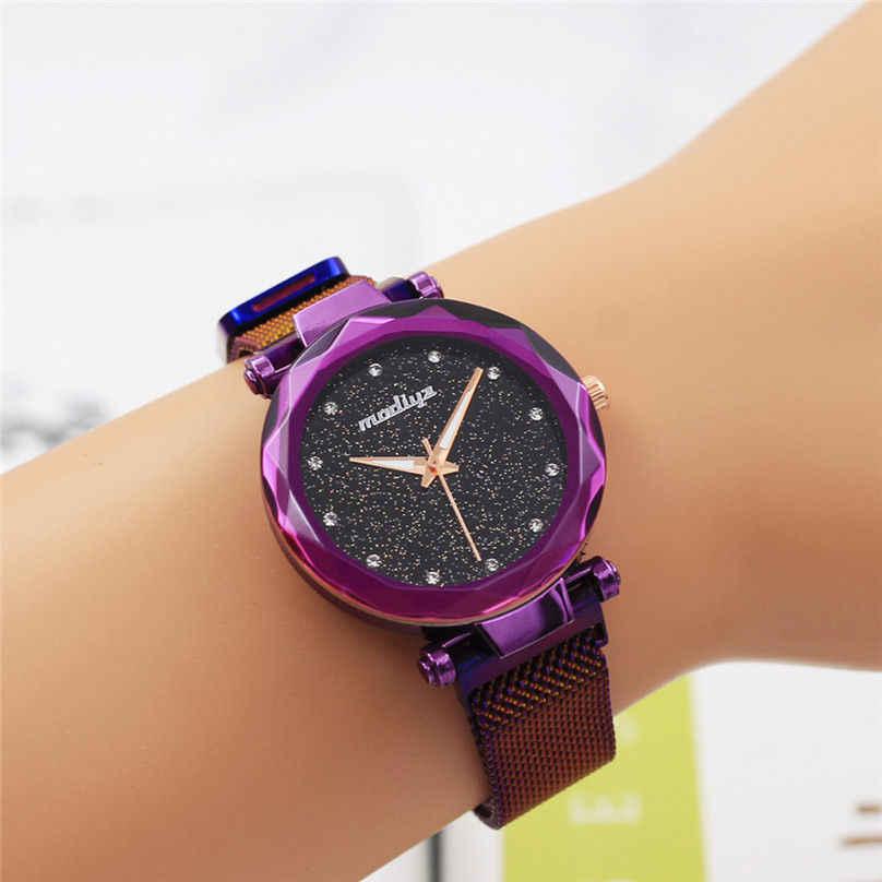 זרוק משלוח אופנה נשים רומנטית שמי זרועי הכוכבים שעון יד מקרית פלדת רשת חגורת ריינסטון שעון Relogio Feminino 4EA