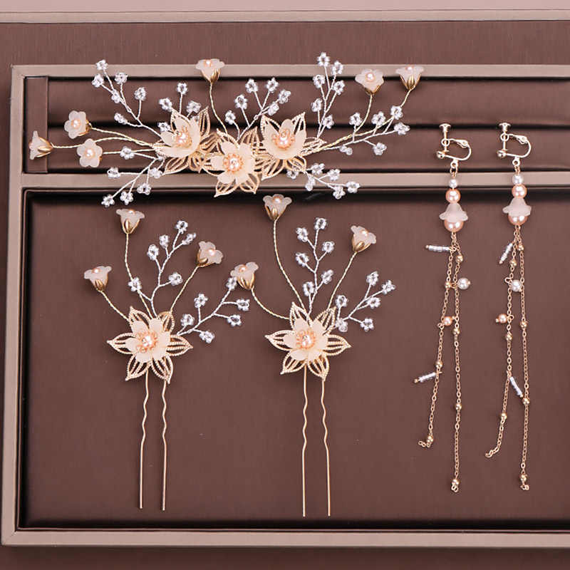 Gold Pearl Flower Hair Clip Hair Pins Earrings Women Girls Hairpin Headpiece Head Jewelry Bridal Wedding Hair Accessories VL