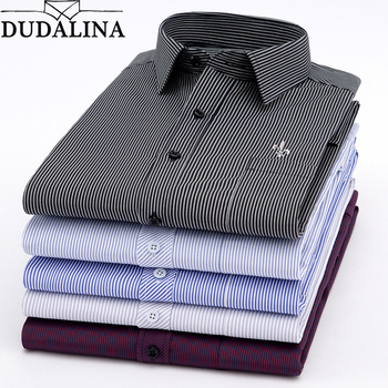 Dudalina New 2019 Men Long Sleeve Shirts Male Striped Classic-fit Comfort Soft Casual Button-Down Shirt Casual Male Shirt Tops 1