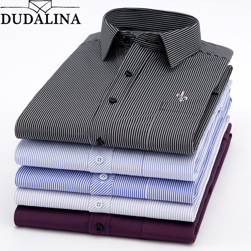 Dudalina New 2020 Men Long Sleeve Shirts Male Striped Classic-fit Comfort Soft Casual Button-Down Shirt Casual Male Shirt Tops