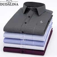 Dudalina nouveau 2019 hommes à manches longues chemises mâle rayé classique-fit confort décontracté chemise boutonnée décontracté mâle chemise hauts