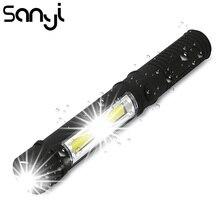 Çok fonksiyonlu COB LED Mini kalem ışık çalışma muayene LED el feneri Torch lambası alt mıknatıs ve klip siyah/kırmızı/Mavi