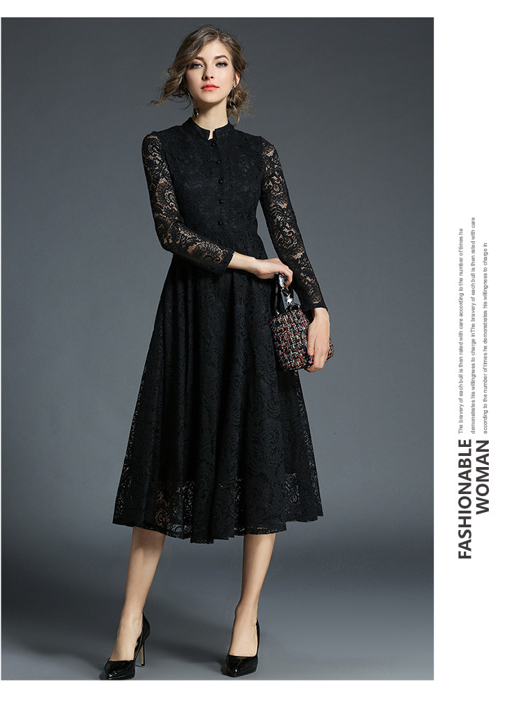 Stand Neck Long Sleeve Office Work Elegant Lace Dress 4