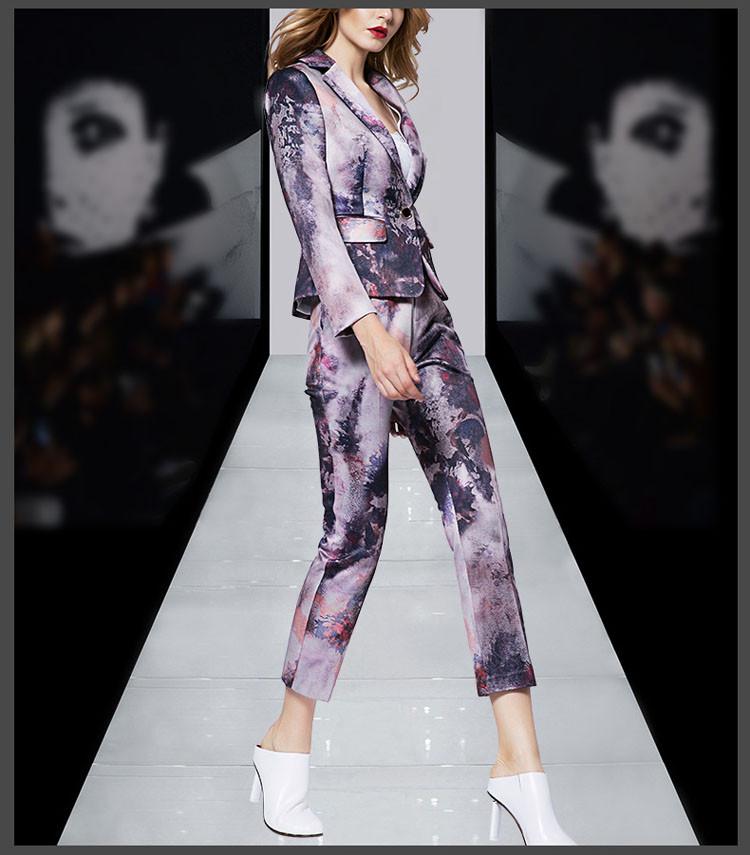 Print Women Business Suit Purple Color Pants Set 2017 08