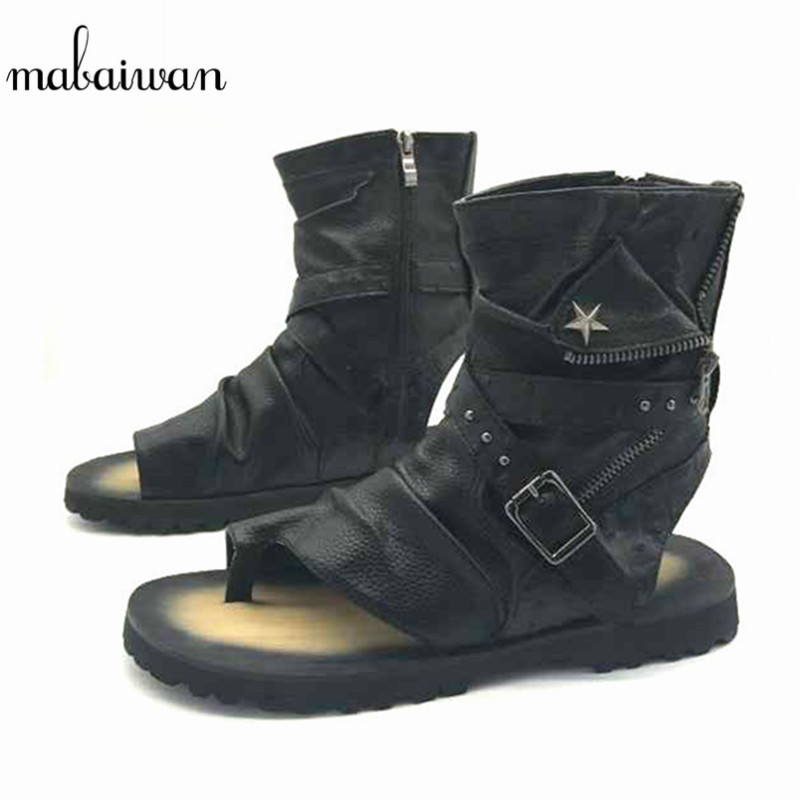 Mabaiwan Fashion Summer Punk Style Men Sandals Gladiator Motorcycle Boots Black Casual Flats Shoes Ankle Boots Sandalias Hombres mabaiwan fashion summer style men sandals casual shoes roman gladiator black mans footwear flats beach shoes sandalias hombres