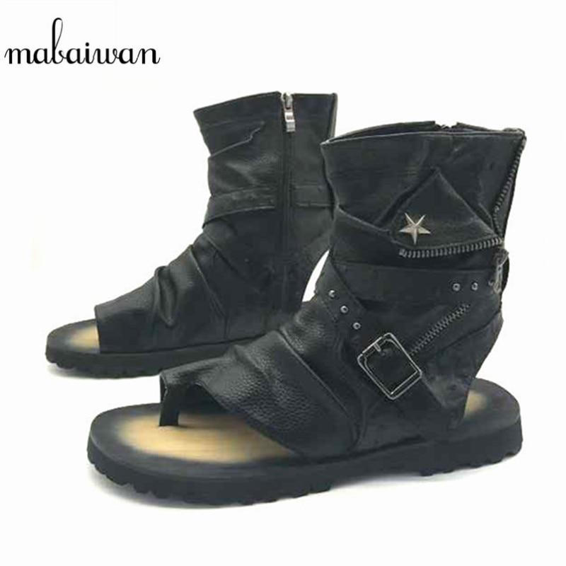 Mabaiwan Fashion Summer Punk Style Mehed Sandaalid Gladiaator Mootorratas Saapad Mustad Casual Flats Nahast Saapad Sandalias Hombres