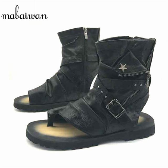 7e474d0cf Mabaiwan moda verano estilo Punk Hombres Sandalias gladiador motocicleta botas  negro Casual zapatos planos botines Sandalias