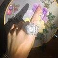 Forma De La Flor Diseño único Infinito Anillo de Bodas Dedo Hermoso CZ Diamond 585 Oro Blanco Plateado Accesorios de La Joyería Mujeres h46