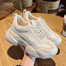 Pantshoes Comfy Breathable Mesh Trainers Chunky Heels 5cm Women's Platform Sneakers Women Shoes Casual Female Shoes(China)