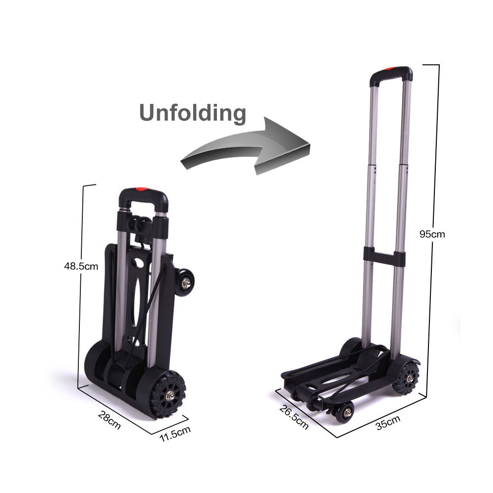 Aluminum Alloy Car Folding Luggage Cart Portable Travel Trailer Household Luggage Cart Shopping Trolley