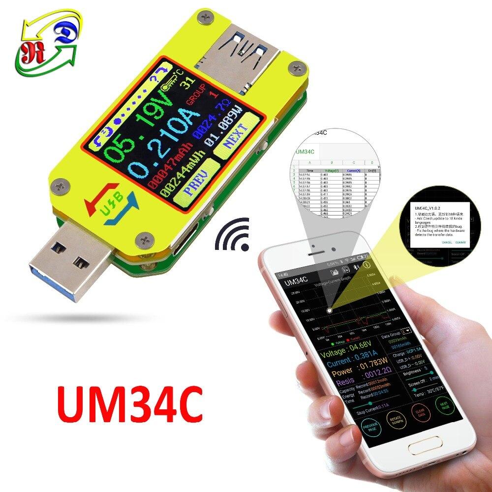 UM34 UM34C para APP 3.0 USB Tipo-C DC Voltímetro amperímetro medidor de corrente de tensão de carga da bateria medida a resistência do cabo tester