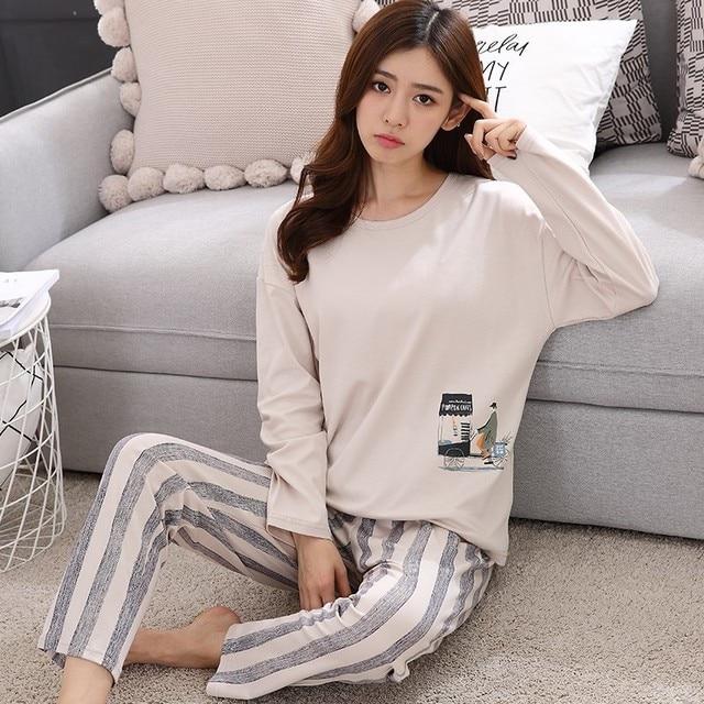 22aca8716d New Arrivals 2018 Autumn   Spring Cotton Pyjamas Women Girl Pajama Sets  Cartoon Sleepwear Pajamas For Women Long-Sleev Tracksuit