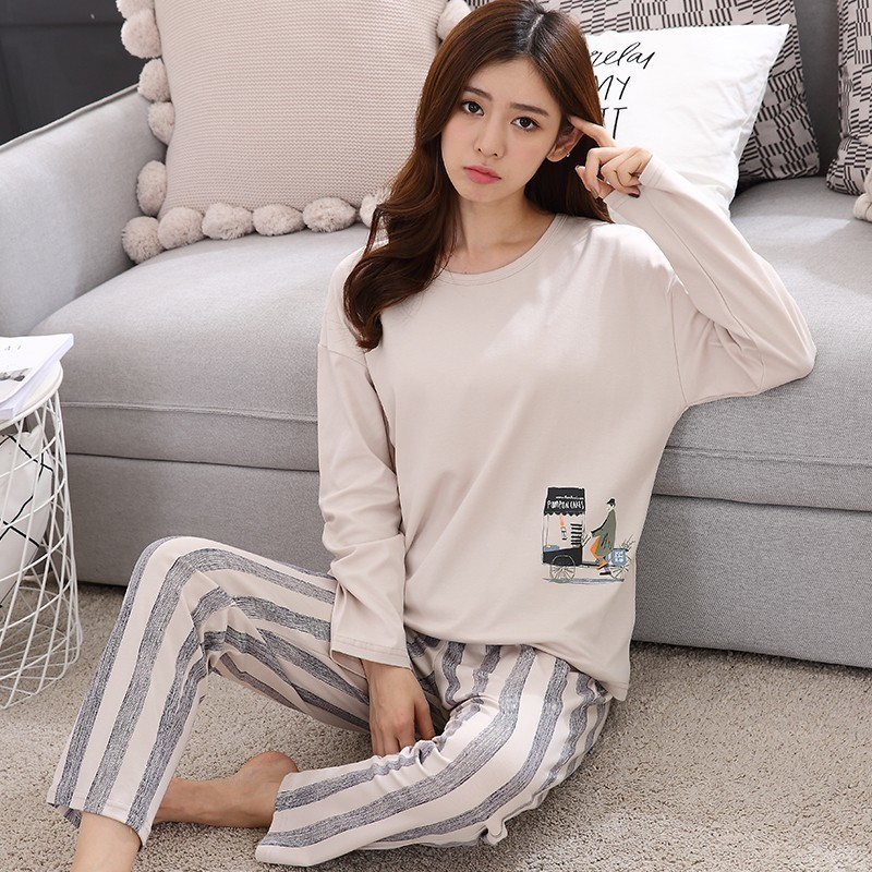 New Arrivals 2018 Autumn & Spring Cotton Pyjamas Women Girl   Pajama     Sets   Cartoon Sleepwear   Pajamas   For Women Long-Sleev Tracksuit