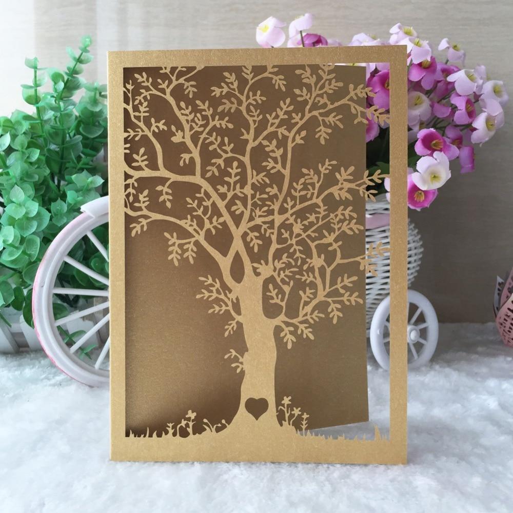 20pcs Chic Tree Design Bat Bar Mitzvah Princess Birthday Bridal Shower Party Invitation Decoration Wedding Card