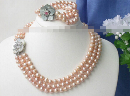 07693 3 brins Rose perles Collier Bracelet set Shell Ca (A0423)