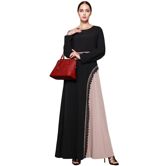 8cf9ae3fa1a 2019 New Muslim Women Plus Size Maxi Dress Crochet Lace Splice O Neck Long  Sleeves Abaya