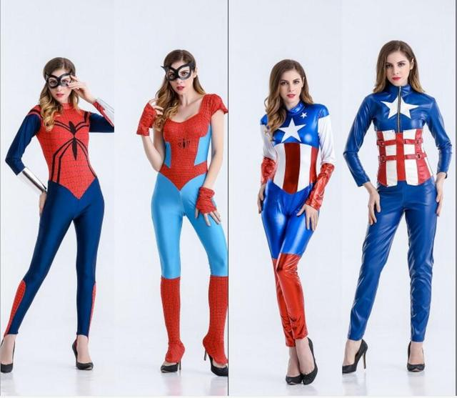 Adult Spider Girl Bodysuit Womens Costume Super Hero Halloween Costumes Long sleeve Jumpsuit Spider Captain America  sc 1 st  AliExpress.com & Adult Spider Girl Bodysuit Womens Costume Super Hero Halloween ...