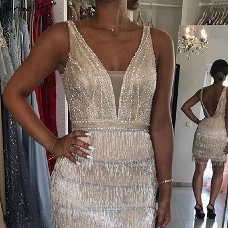 2019 Champagne V-Neck Sexy Short Dresses Beading Tassel Party Cocktail Dresses Serene HiLL LA70124