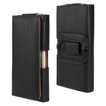 Роскошные Высокое качество Талии висел пояс подлинная черный кожаный флип case крышка для iPhone 6 Plus 6 S Plus 5.5 дюймов телефон сумка мешок