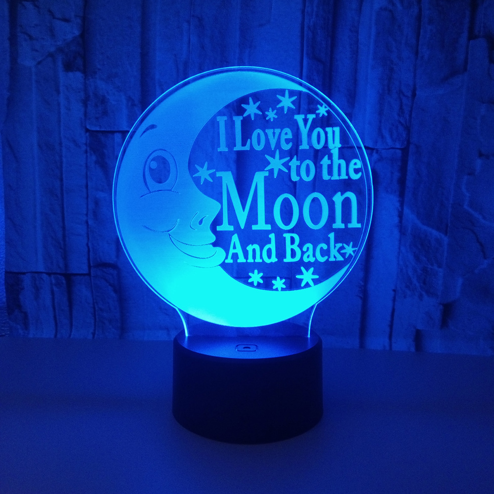 7 Color Changing Moon Lamp 3D Visual LED Night Lights for Kids Touch USB Table Lamp Baby Sleeping Light