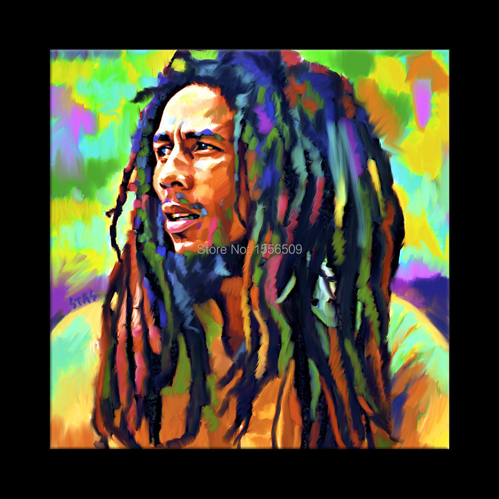 Original Collector 39 S Edition Top Handpainted Art Oil Painting Bob Marley Portrait Free Shipping