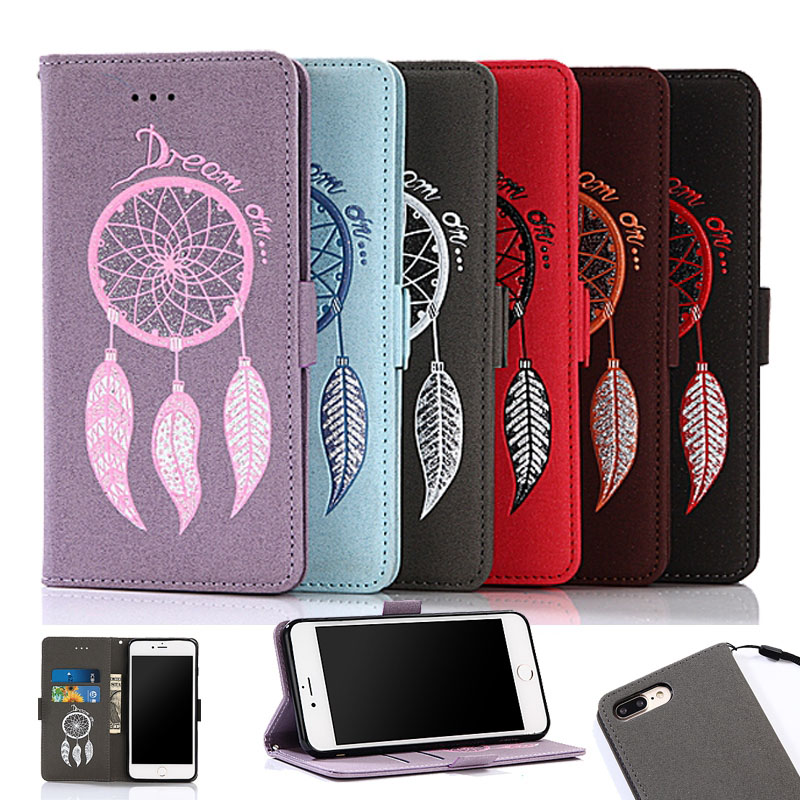 For iPhone 5s SE Case Glitter Holster Feather Wind Bell Series Leather Flip Wallet Cover For iPhone 6s plus 7 7plus Coque