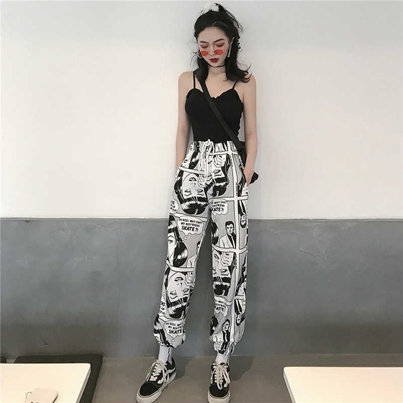 Women Loose Sports Casual Pants Beam Foot Harem Pants Comics Printed Joggers Pants Mens Hip Hop Casual Trousers