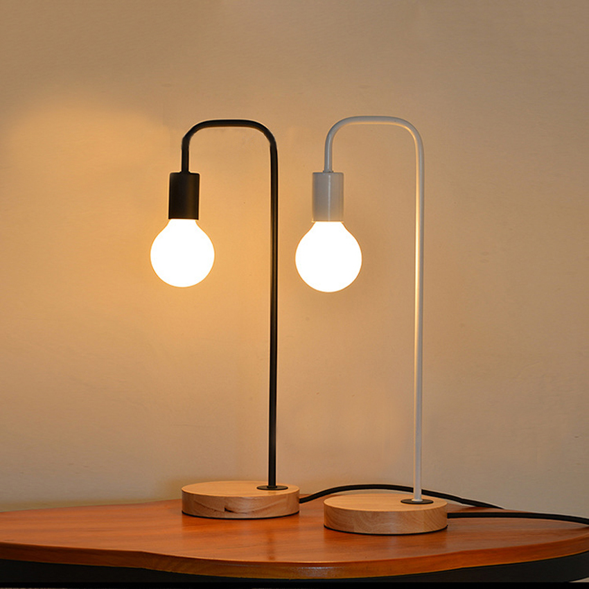 Nordic Modern simple Table lamp,iron lamp holder wood base bedside reading desk lamp bedroom study/office room light fixture