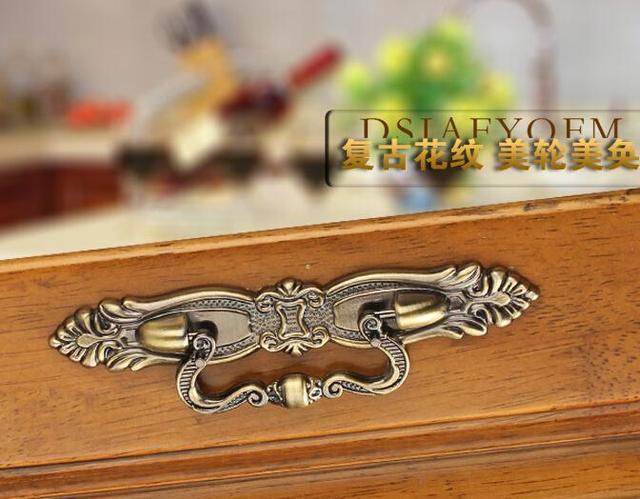 115mm 5 unids europeo tallado bronce manijas de cajón de la cocina ...