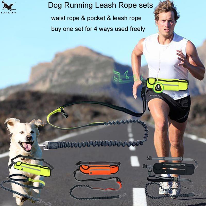[TAILUP] Σκύλος λουρί σκοινί που τρέχει ελεύθερο χέρια αντανακλαστικά κατοικίδια σκυλιών λουριά λουρί περπατήματος με τσάντα μέσης σάκος κολάρο για σκύλους CL147