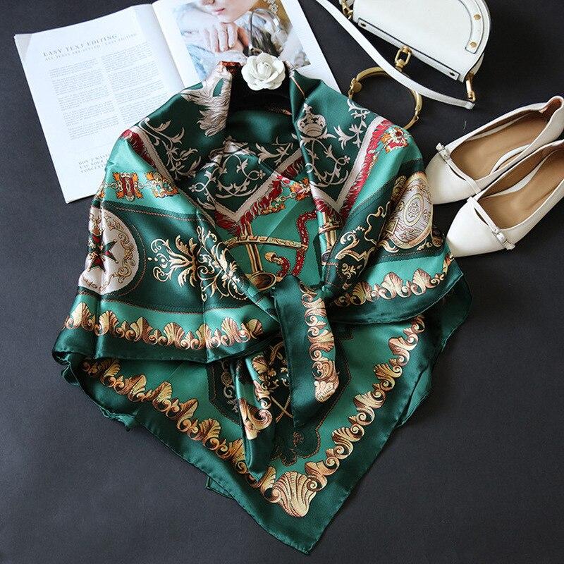 100 Silk Satin Square Scarf Napoleon Knight Garden Pattern 110 110cm Luxury Women Coat Shawl Hijab
