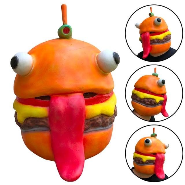 Adulto Prático Piadas Carne Chefe Capacete Máscara de Látex Halloween Trajes Cosplay Rosto Cheio de Máscaras Adereços Hambúrguer Humano # K5