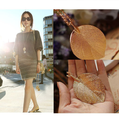 The new restoring ancient ways of fashion and elegant ms golden big leaf pendant necklace sweater chain bisuteria ...
