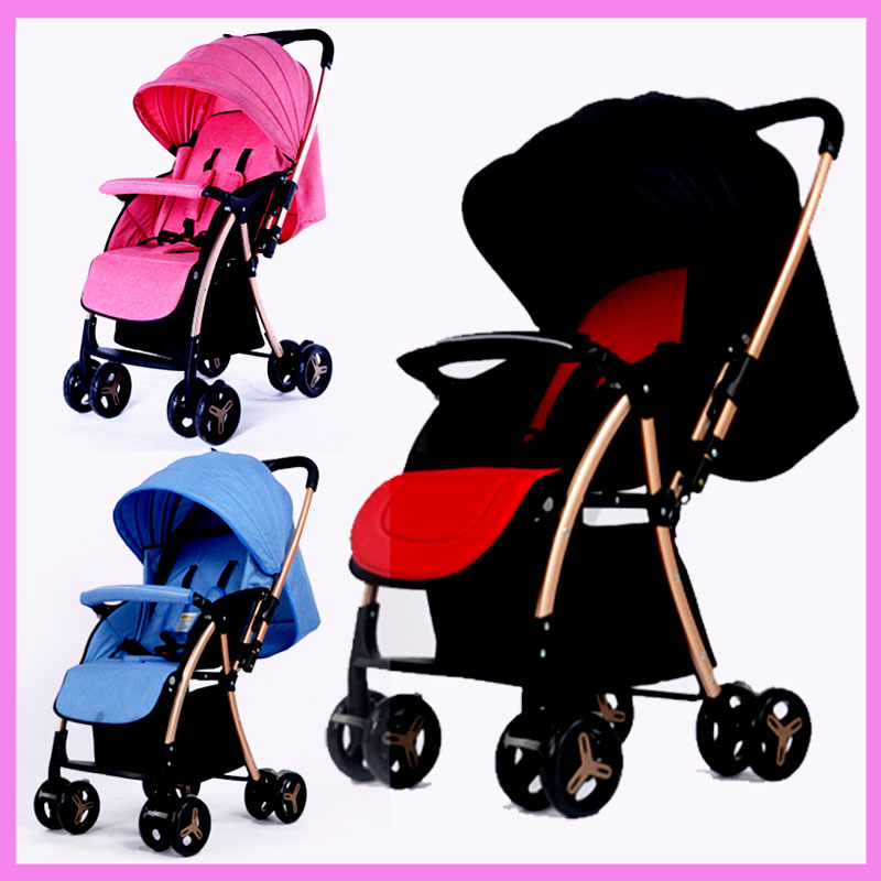 Lightweight Folding Portable High Landscape Baby Cart Can Sit Lie Umbrella Baby Car Stroller Reverse Pushing Handle Pram 0~36 M baby trolley portability portability can sit baby trolley summer folding umbrella car high landscape baby car stroller