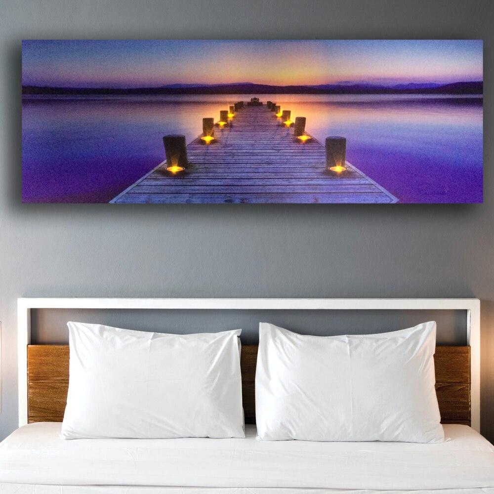 Led mur photo jetée avec photophore marin toile art lumière up décor HD peinture illustration imprimé encadrée batterie ouvert grand taille