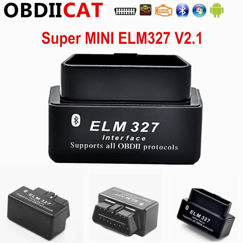 Buy black color New Design Super Mini ELM327 Bluetooth V2.1 OBD2 auto code reader mini327 Car diagnostic interface  for only 3.5 USD