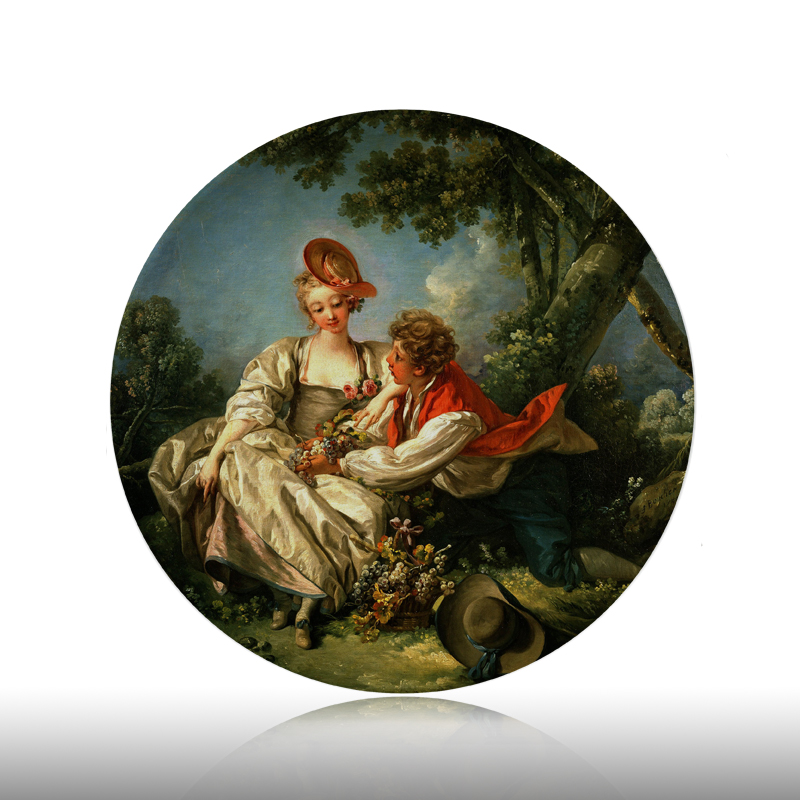 Francois Boucher Painting Decorative Plates Ceramic Home Artistic Dish Hotel Background Display  Lady and Boy Oil Painting Plate|Bowls & Plates| |  - title=