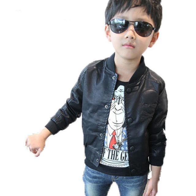 Nueva Primavera 2017 Bebé de La Manera Muchachos Del Cráneo de Impresión de Cuero de Imitación chaquetas de la Capa de Los Niños de Moda Otoño Motocicleta Tops Outwear 2-7Y niños