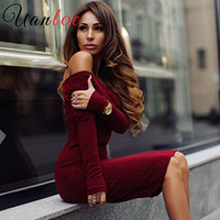 UANLOE 2016 Brand Winter Women Dress Black Red Party Robe Sexy Bodycon Midi Long Sleeve Casual